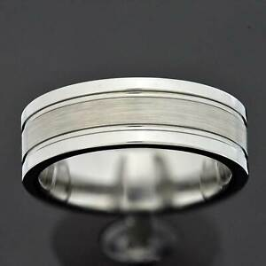 8mm Tungsten Pip Cut Brushed Center Duo Groove Ring Men's Wedding Band Ring TR