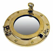 "8"" Solid Brass Porthole Mirror Nautical Round Wall Mount Gold Ship Framed"