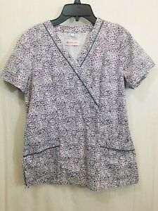 White Cross Women's (PFK) Gray White Red Floral Print Crossover Top Size S *