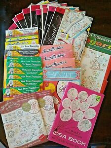 Vintage Iron-On Transfer Lot of 30+ Transfer/Pattern Variety circa 1950s to now