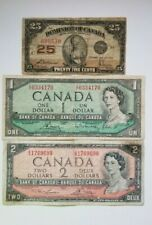 CANADA LOT OF 3 BANKNOTES 25 CENTS FROM 1923 AND $1, $2 FROM 1954 CIRCULATED
