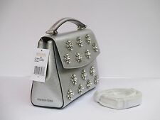 New Michael Kors Ava Small Silver Leather Satchel Purse