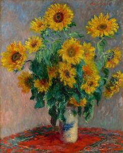 claude monet art painting canvas vintage classic Print sunflowers
