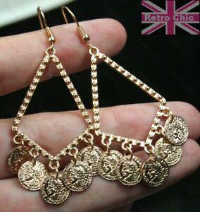 6cm retro CHANDELIER EARRINGS triangle hoop COINS boho GOLD TONE gypsy coin drop