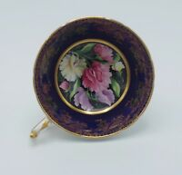 PARAGON BONE CHINA SWEET PEA COBALT AND GOLD FOOTED CUP