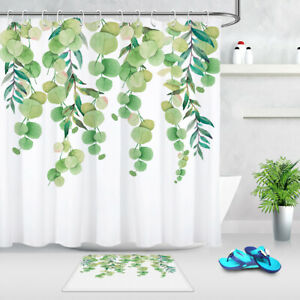 Waterproof Fabric Shower Curtain Nature Plants Watercolor Green Leaves Pattern