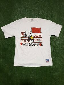 Vintage Nutmeg Cleveland Browns Snoopy Shirt Large 80s Til the Fat Lady Sings