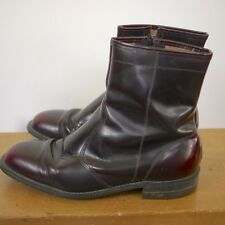 Vintage 1970s Genuine Burgundy Leather Mod Zip Up Ankle Boots 8EEE 41 USA