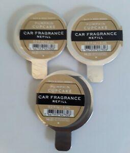 3 Bath & Body Works PUMPKIN CUPCAKE Car Fragrance Refills - 0.2 fl oz each!