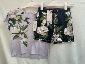 BNWT Girls Ted Baker Floral Top & Shorts Set Summer Outfit Age 9 Years
