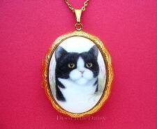 Cameo Costume Jewelry Locket Pendant Necklace Porcelain Black & White Tuxedo Cat