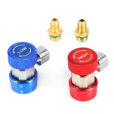 R134A A/C High Low Manifold Quick Coupler Adapter Connector+Valve Remover Tools-