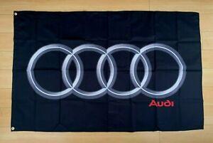 Audi Logo 3x5 ft Flag Banner Car A3 A4 A5 Q3 Q5 Q7 RS