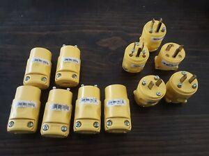 10+ Leviton 000-515CV & 115CV PVC Mixed Cord Connector lot, 15Amp Male & Female