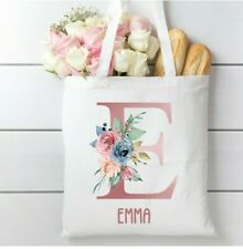 White Personalised Tote Bag/ Shopping Pink Blue Floral Initial Nan Friend Bride