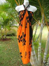 Hawaiian Sarong Orange/Blk Plumeria Coverup Pareo Beach Pool Cruise Luau Dress