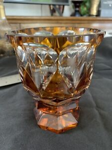Gorgeous Heavy Thick Moser Vase Amber Cut To Clear Style