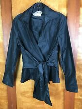CARLISLE Black Iridescent Silk Wrap Blouse Long Split Sleeve Top Sz 2