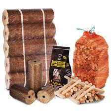 FIRE PIT CHIMINEA STARTER PACK Large Wood Heat Fuel Logs, 3kg Kindling, Lighters