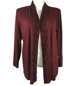 Krazy Kay Sweater Cardigan 2X Burgundy Wine Rosette Accent Open Front Waterfall