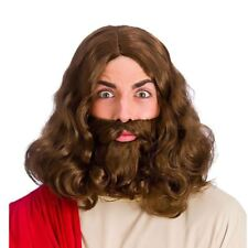 Jesus Brown Wig & Beard 60s 70s Hippy Hippie Prophet Fancy Dress Religious