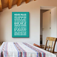 House Rules Canvas Wall Quotes Wall Art Hand Made in UK