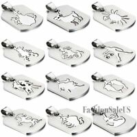 New Stainless Steel Zodiac Dog Tag Pendant Men's Women's Necklace Chain For Gift