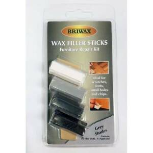 Briwax Wax Wood Filler Sticks Grey Shades White to Black 4 Pack with Applicator