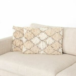 "New w Tags Pair 2 Four Hands Willow Enora Shag Grey Cream Throw Pillows 16""x24"""