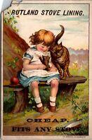 1880's Victorian Trade Card AD, Rutland Stove Lining, Davenport Iowa IA