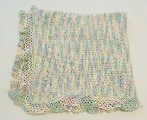 Beautiful Vintage Hand Woven  Pastel Colored Baby Blanket Blue/Pink/Yellow/Green