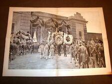 Incisione enorme del 1887 Funerale di Agostino Depretis o De Pretis a Stradella