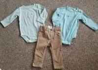 CARTER'S Lot of Bodysuits OLD NAVY Tan Corduroy Pants 12-18 months