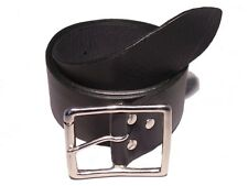 Silver Rectangle Roller 50mm Width Leather Belt Waist Size Mens Ladies Black Fit