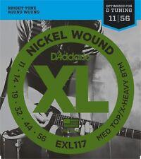 5 Sets D'Addario Exl117 Nickel Wound Medium Top/Extra-Heavy Bottom 11-56 pack