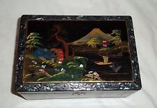 Vintage Ts Orugeru Japan Black Lacquered Jewelry Music Box Inlaid Abalone Shell