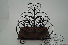 Custom Ornate Scrolled Wrought Iron Spanish Style Magazine Stand