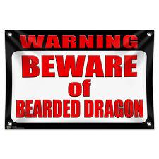"Warning Beware of Bearded Dragon 33"" x 22"" Mini Vinyl Flag Banner Wall Sign"