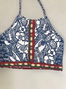 Loft Ann Taylor Bikini Top Swimsuit Halter Floral Aztec NEW XS