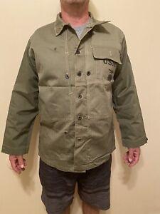 Vtg. WW2 USMC Military HBT Jacket 40 Great Cond. Military Marines Green