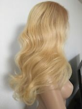Virgin Human Hair Blonde Wig Wig Wavy Layered 22 Inch Long Lace Front Swiss Lace