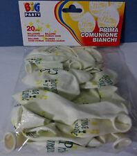 PALLONCINI PRIMA COMUNIONE GENERICO 20 Pz. Bianco con Stampe Party Festa