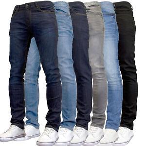 DML Mens Slim Fit Tapered Leg Stretch Denim Jeans
