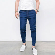 Men Tapered Fit Denim Pants Jogging Trousers Jeans Joggers Bottoms Slim Casual