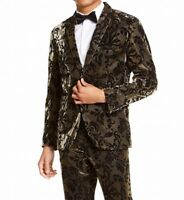 INC Mens Blazer Gold Size Medium M Tuxedo Slim Fit Flocked Metallic $149 #239