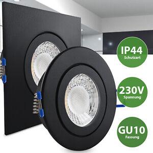 LED Einbaustrahler Schwarz Feuchtraum Spot Dusche Bad Vordach IP44 GU10-230V