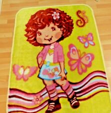Strawberry Shortcake Blanket Vntg Plush Furry Yellow Pink Red Throw Crib Twin
