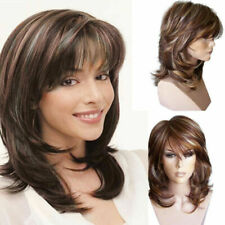 Women Girl Brown Curly Wig Synthetic Wigs with Inclined Bangs Natural Wig