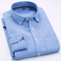 Men's Business Formal Dress Shirts Pure Color Oxford Shirt Long Sleeve Shirt