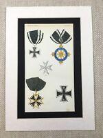 1858 Prussiano Militare Medaglie Nero Aquila Iron Cross Cromolitografia Stampa